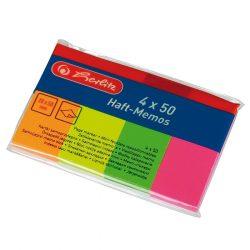 Herlitz öntapadó csík, 4 db, 50x20 mm x 50 lap, neon