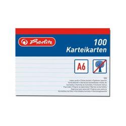Herlitz kartoték kártya, A6, 100 ív, vonalas,fehér, 170g/m2