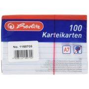 Herlitz kartoték kártya, A7, 100 ív, vonalas,fehér, 170g/m2