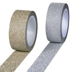 Karácsonyi ragasztószalag Glitter, arany/ezüst csillámmal, vegyesen, 5mx15mm