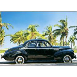 Képeslap, fekete autó