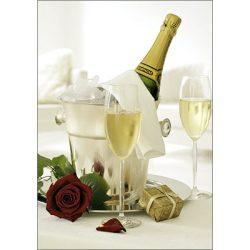 Képeslap, pezsgő és rózsa