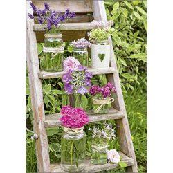 Képeslap, virágok vázában