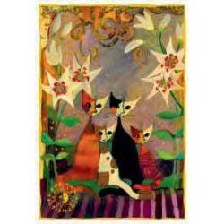 Képeslap - Cats with lillies