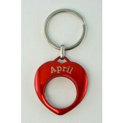YES kulcstartó, piros, Április