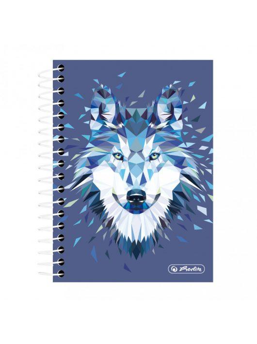 Spirálfüzet A6 200 lapos Wild Animals Wolf kockás
