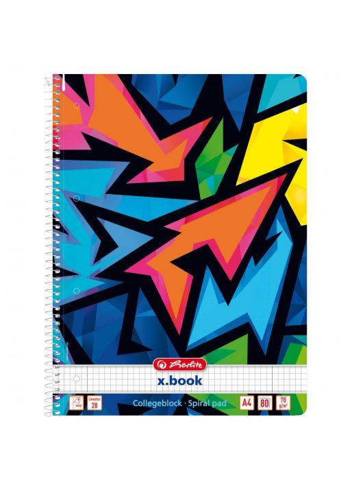 Spirálfüzet A4 80 lapos kockás, lyukasztott, perforált, Neon Art