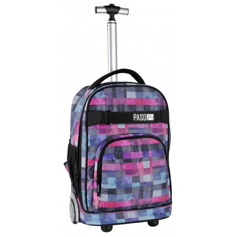 995a392bde Paso trolley, húzható, hátizsák kockás-rózsaszín - KeS Papír ...