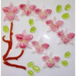 Zselés üvegmatrica; ,L,rózsaszínű orchidea