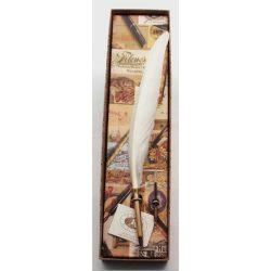 Kalligrafikus szett, madártollas golyóstoll és tollbetét, EC/03