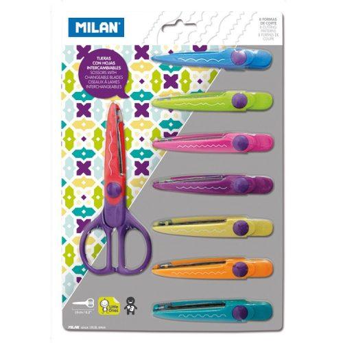 Kreatív ollószett MILAN, 8 db különböző cserélhető vágóél, biztonsági műanyag pengevédő, 3 éves kortól