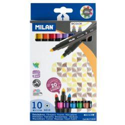"""Filctoll készlet MILAN 6310, 10 db-os - 20 különböző szín, kétvégű """"Bicolour"""" filctoll, 5 mm-es hegy, hengeres test"""