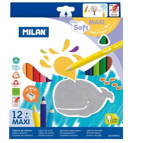 Színesceruza készlet MILAN 961, 12 különböző szín, háromszög test, extra puhaságú, vastag bél