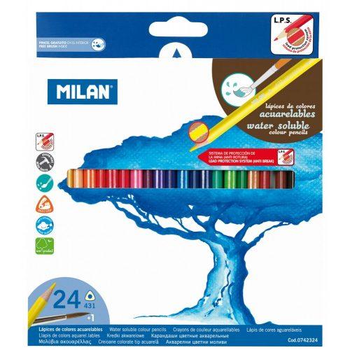 Színesceruza készlet MILAN Aqua 431, 24 különböző szín, háromszög test, vékony bél, festhető