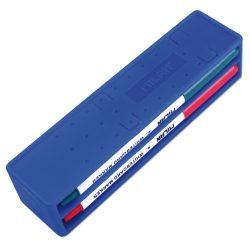 Táblafilc készlet táblatörlővel MILAN, vékony test, gömb hegy, mágneses táblatörlő, kék + fekete + piros + zöld színű filc