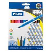 Filctoll készlet MILAN 6112, 12 különböző szín, 2 mm-es hegy, háromszög test
