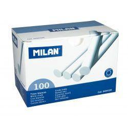 Fehér kréta MILAN, hengeres test, pormentes, táblára és asztfaltra ajánlott, 100 db-os