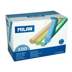 Színes kréta MILAN, hengeres test, pormentes, táblára és asztfaltra ajánlott, 100 db-os