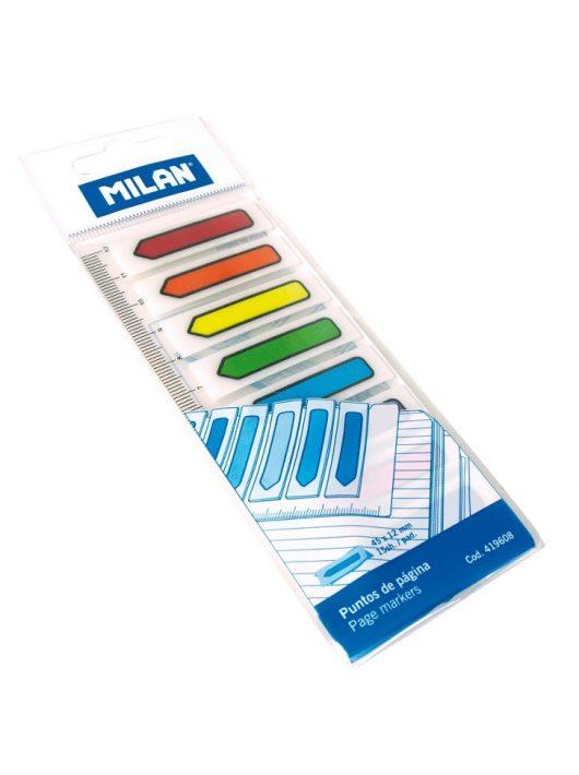 Oldaljelölő címke MILAN, nyíl alakú, neon, 45x12 mm, 8x15 lapos, 8 színű