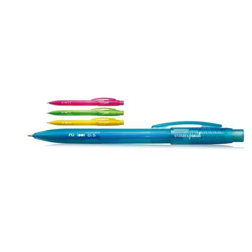 Mechanikus ceruza MILAN Look, 0,5 mm-es, beépített radírral (3,5 cm), nyomógombos, áttetsző színes test