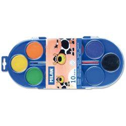 Vízfesték MILAN 10-es, 10 különböző szín, 45 mm-es festékkorongok, 1 db ecsettel, mosható
