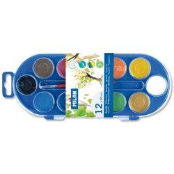 Vízfesték MILAN 12-es, 12 különböző szín, 30 mm-es festékorongok, 1 db ecsettel, mosható