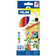 Színesceruza készlet MILAN 211, 12 különböző szín, hatszög test, vékony bél