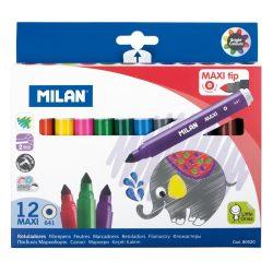 Filctoll készlet MILAN 641 Maxi, 12 különböző szín, 7 mm-es hegy, hengeres test