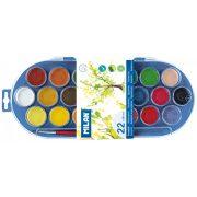 Vízfesték MILAN 22-es, 22 különböző szín, 30 mm-es festékorongok, 1 db ecsettel, mosható