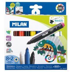"""Filctoll készlet MILAN 643 Maxi, 8 db színes filctoll + 2 db """"varázsfilc"""", 7 mm-es hegy, hengeres test"""