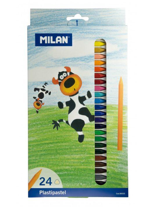 Zsírkréta MILAN, 24-es készlet, hegyezhető, radírozható, plasztikus