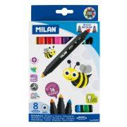 """Filctoll készlet MILAN 640 Maxi, 8 db-os - 16 különböző szín, kétvégű """"Bicolour"""" filctoll, vastag hegyű (7 mm), hengeres test"""