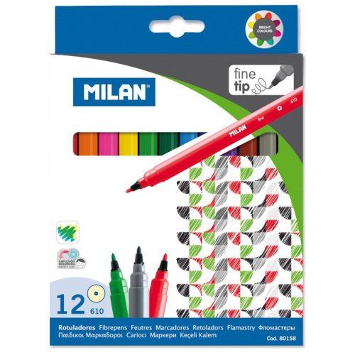 Filctoll készlet MILAN 610, 12 különböző szín, 2 mm-es hegy, hengeres test