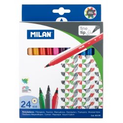 Filctoll készlet MILAN 610, 24 különböző szín, 2 mm-es hegy, hengeres test