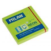 Öntapadó jegyzettömb MILAN, 75x75 mm, 80 lapos, neon zöld színű