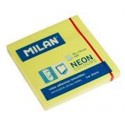 Öntapadó jegyzettömb MILAN, 75x75 mm, 80 lapos, neon sárga színű