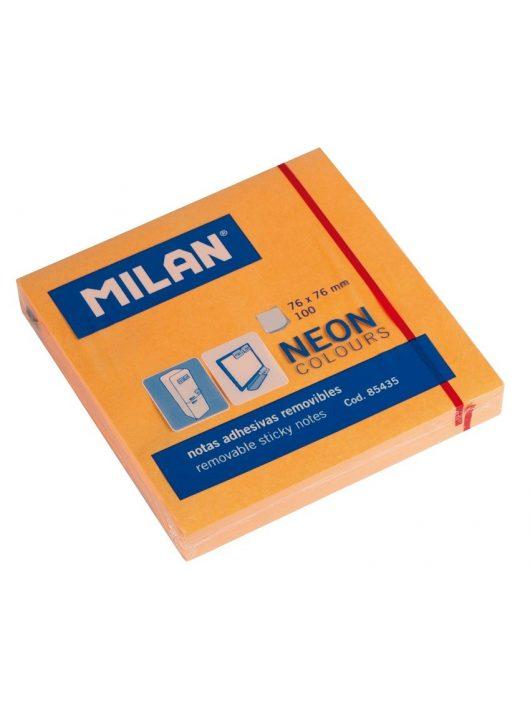 Öntapadó jegyzettömb MILAN, 75x75 mm, 80 lapos, neon narancs színű