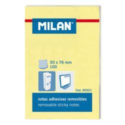 Öntapadó jegyzettömb MILAN, 50x76 mm, 100 lapos, sárga színű