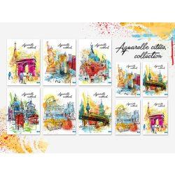 Füzet A5 kockás, festmény városok