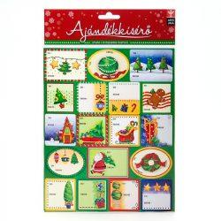 Karácsonyi tájas közepes ajándékkísérő matrica - 2D