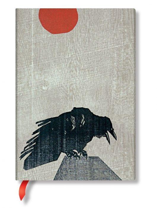 Paperblanks butikkönyv Crow with Red Sun midi vonalas