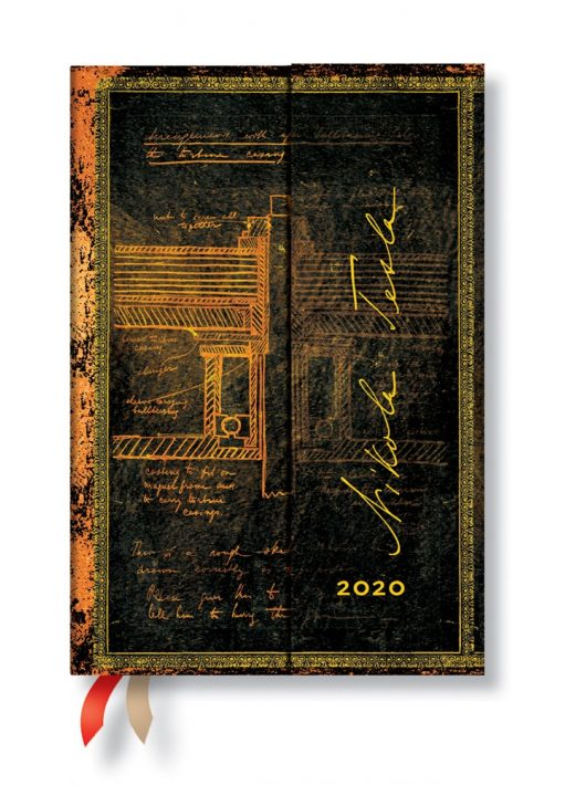 Paperblanks naptár (2020) 12 hónapos - Tesla, Sketch of a Turbine mini napi