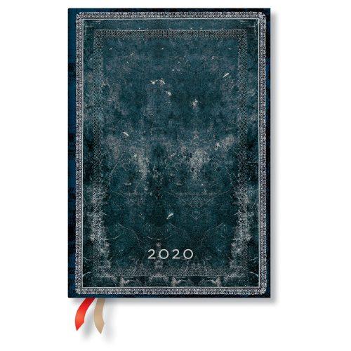 Paperblanks naptár (2020) 12 hónapos - Midnight Steel midi vertikális