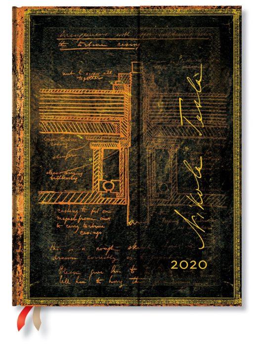 Paperblanks naptár (2020) 12 hónapos - Tesla, Sketch of a Turbine ultra vertikális