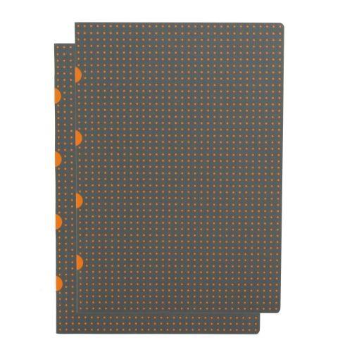 Paper-Oh Cahier Circulo Grey on Orange / Grey on Orange A4 kockás