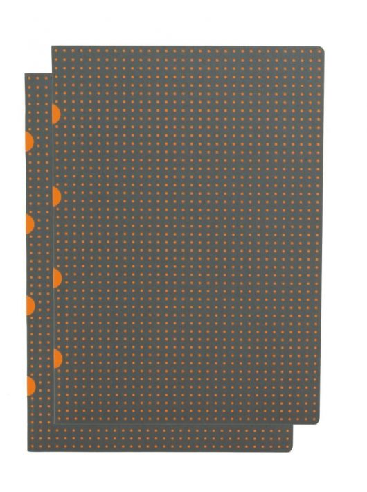 Paper-Oh Cahier Circulo Grey on Orange / Grey on Orange A4 kockás