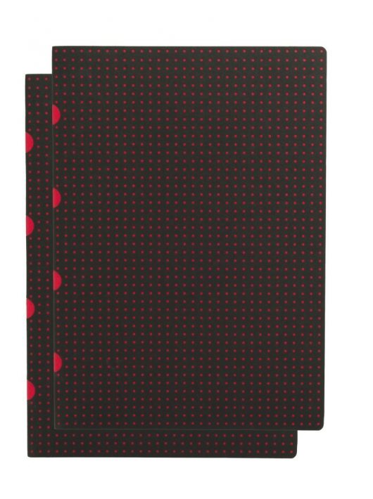 Paper-Oh Cahier Circulo Black on Red / Black on Red A4 vonalas