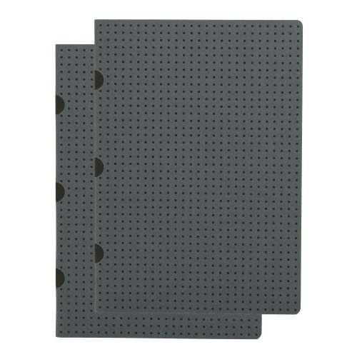 Paper-Oh Cahier Circulo Grey on Black / Grey on Black A5 kockás