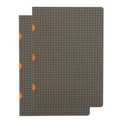 Paper-Oh Cahier Circulo Grey on Orange / Grey on Orange A5 kockás