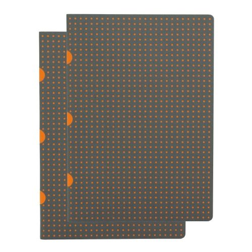 Paper-Oh Cahier Circulo Grey on Orange / Grey on Orange A5 kockás